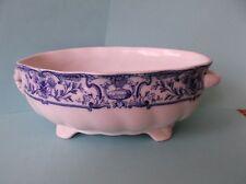 Antique Doulton Burslim Royal Porcelain Footed Serving Bowl, England, Blue White