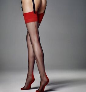 """Black Matte Stockings with red lace top and red seam """"Calze Leticia"""" 6 Denier"""