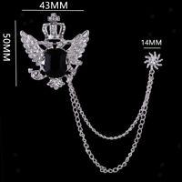 Men's Golden Silver Brooch Pin Sun Flower Crown Wings Two Chains Brooch Pins