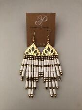 "Plunder Nessie Earrings Gold & White Beaded Tassels 5"" drop"