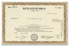 Detroit Gray Iron and Steel Foundries, Inc. Stock Certificate