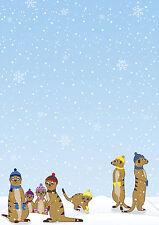 Motivpapier Briefpapier Erdmännchen im Winter 50 Batt DIN A4 Schnee Weihnachten