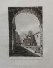 Cataluña. Monasterio de Poblet,Laborde, grabado original 1806 a 1820