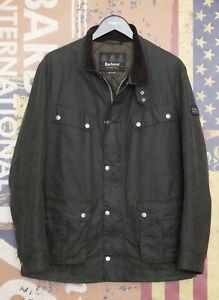 £199 Mens Barbour Duke International sage green waxed jacket Large Medium 38 40