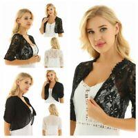 New Women Half Sleeve Chiffon lace Shrug Shawl Bolero Cardigan Ladies Crop Top