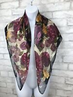 """Vintage Liz Claiborne Black and Purple Floral Square Scarf Jacquard Print 34X35"""""""