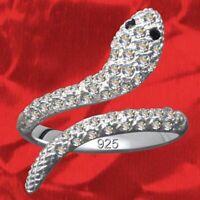 Exklusiver Damenring Schlange Echt 925 Sterling Silber Kristall Zirkonia