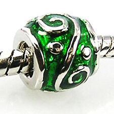 20pcs Green Symbol Silver Enamel European Bracelet Spacer Charm Beads D70