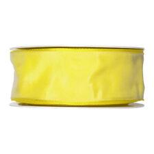 Fabric ribbon satin 40mm 25m roll Bright Lemon Yellow