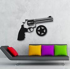 Wall Stickers Vinyl Decal Revolver Gun Sheriff Star Police (ig862)