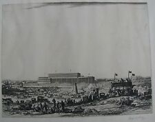 "GEORGE H L DAY BRITISH ETCHING ""DERBY DAY EPSOM DOWNS UK"" C 1920"
