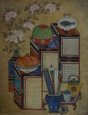 Antique Korean MinHwa Folk Checkori Scholar Hand Painting on Jangji Paper