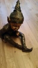 LARGE GENUINE BRONZE GARDEN SCULPTURE OF BABY PIXIE/ELF SALE PRICE
