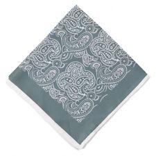 New $215 KITON Mossy Green and White Paisley Print Silk Pocket Square