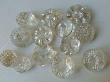Vintage lot of mixed clear Glass Buttons/.: