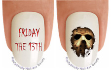 "Nail Decals #722H HALLOWEEN ""Friday the13th Mask"" WaterSlide Nail Art Transfers"