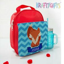Personalised Cute Fox Zig Zag Red Children's School Lunch Box Cool Bag NL003