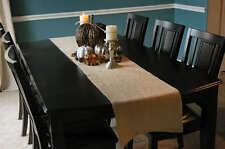 """Rustic Natural Burlap Jute Table Runners 14 inches wide 120"""" Long Serged Edges"""
