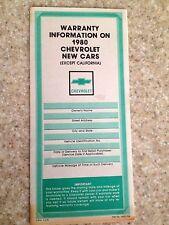 1980 Corvette Factory GM Original Warranty and Owner Assistance Brochure Blank