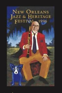 1996 Pete Fountain Jazz &  Heritage Festival poster SIGNED By Rodrigue