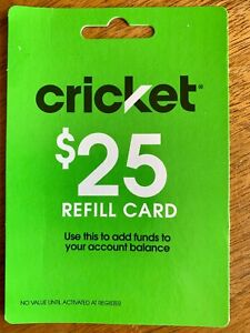 Cricket Wireless $25 Refill Card To Add Funds To Account Balance