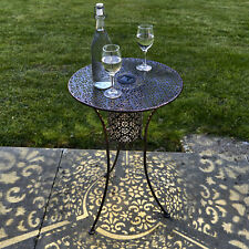 Solar Garden Bistro Table Outdoor Silhouette Light Bronze Finish Warm White LED