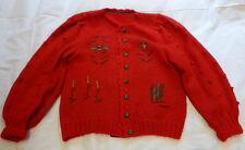 Trachten Strickjacke Gr.38 Baumwolle rot mit Stickerei Landhaus edel