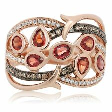 14K Rose Gold Ring with Orange Sapphires and Choclatey Diamonds in Finger Size 7
