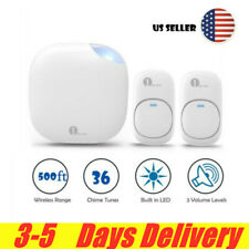 Plug-in Wireless Door Bell Chime 2 Push Button & Cordless Receiver Waterproof
