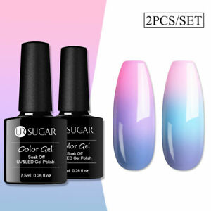 2pcs UR SUGAR Color Changing Thermal Gel Polish Soak Off UV LED Purple Blue Gel