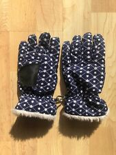 Hanna Andersson Girls Gloves Blue White Floral Size M Fleece Lined Faux Fur Trim