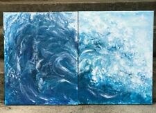 32x20 Beach Art, Ocean Wave, Abstract Painting, Blue painting, Home Decoration