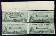 US #C18 50¢ Zeppelin, Plate No. Block of 4, og, NH, VF