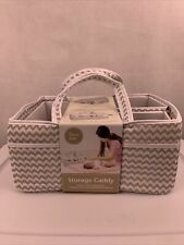 New! Trend Lab Diaper Storage Caddy Chevron Pattern White and Gray