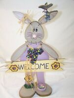 Easter Bunny Folk Art Bunny Wood Hand Painted Welcome Home Decor