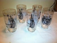 Vtg Mid-Century 50's Gay 90s Drinking Glasses Vintage - Federal - Set of 5