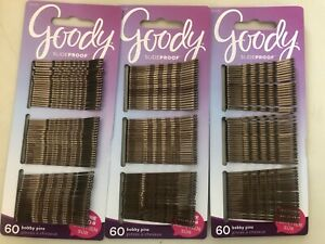 "GOODY Slideproof 2"" Bobby Pins 3 Packs of 60 Pins brown brunette 180 Pins Total"
