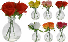 2 Glass Bud Vases 3 Artificial Roses Artificial Flowers Vase Restaurant Weddings