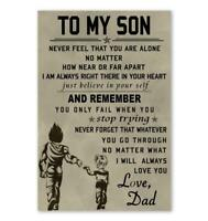 To My Son Motivational Quotes Poster Viking Warrior and Son Poster All Size
