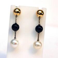 DAVID YURMAN NEW Solari XL Chain Drop Earrings with Black Onyx, Pearl & 14K gold