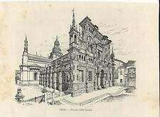 Stampa antica PAVIA veduta della Certosa 1892 Old antique print