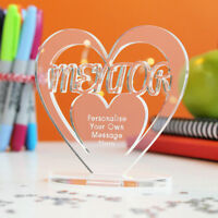 Personalised Mentor Heart Keepsake - Thank You Gift School College University