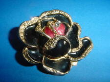 Rose Scarf Clip ~ ~ Beautiful Black Golden
