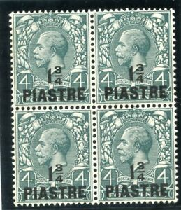 British Levant 1913 KGV 1¾pi on 4d deep grey-green block MNH. SG 38. Sc 43.