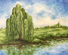 """""""Willow"""" Original Oil Painting tree art river lake trees sky clouds landscape"""