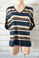 Country Road T Shirt Top Size Small Pink Black Beige Striped Short Sleeve