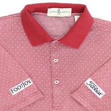 Fairway & Greene Men Large Titleist Footjoy Golf Polo Shirt Red Cotton Dot