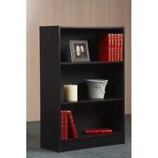 3 Shelf Bookcase Storage Bookshelf Wood Furniture Adjustable Book Shelving Black