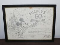 VINTAGE 1989 WALT DISNEY MICKEY MOUSE MICKEY'S 60th BIRTHDAY FRAMED PRINT