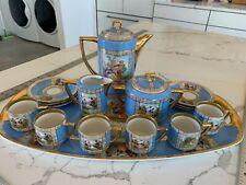 Antique Tea Set porcelain PirkenHammer Style 5559 Blue Gold motif Czech